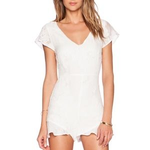 For Love and Lemons Pina Colada Romper in White XS